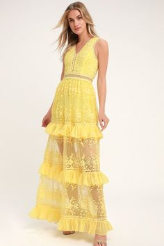 f2c914416840 The dress of our dreams is the Lulus Garden Dreams Yellow Lace Tiered