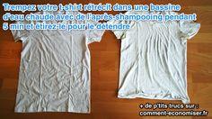 Voici une astuce pour agrandir votre t-shirt et pouvoir l'enfiler de nouveau. Découvrez l'astuce ici : http://www.comment-economiser.fr/agrandir-t-shirt-retrecit.html?utm_content=buffereb0fb&utm_medium=social&utm_source=pinterest.com&utm_campaign=buffer