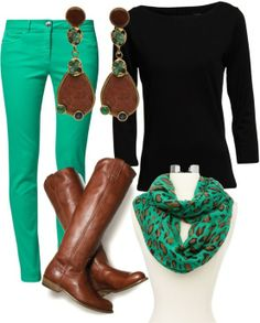 Riding boots, aqau skinny jeans, aqua leopard scarf, black long-sleeve t-shirt. Cute outfit!