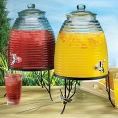 Have your guess buzzing around this glass beverage dispenser to serve themselves some water, iced tea, lemonade, sangria or any favorite drink. No bees in the hive, but the bees on the wrought iron stand give this drink dispenser an authentic and fun look to any indoor or outdoor entertaining. 2 gallon capacity $39.99