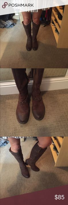 Born tall boots Born brand is known for comfort and style.  These are the perfect boot for summer festivals or fall/winter over jeans.  Unbelievably comfortable and easy to walk in for hours.  Brown, weathered leather. Smooth, flat finish.  Very good condition Born Shoes Heeled Boots