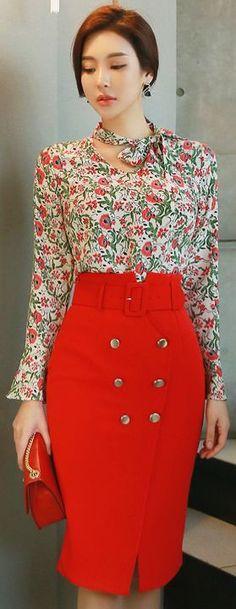 StyleOnme_Double-Breasted Front Slit Detail High-Waisted Pencil Skirt #red #pencilskirt #elegant #springtrend #koreanfashion #kstyle #seoul #skirt