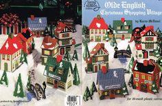 Vintage Plastic Canvas Pattern Olde English Christmas Shopping Village McDanel #AMERICANSCHOOLOFNEEDLEWORK
