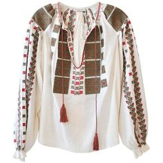 Mes Demoiselles Romane Embroidered Top (€335) ❤ liked on Polyvore featuring tops, shirts, blouses, gypsy, gypsy shirt, loose tops, long sleeve tops, cotton shirts and v neck shirts