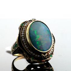 Antique Ring |  Designer ?.  14kt Yellow Gold, Opal, Seed Pearls and Enamel