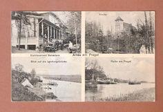 AK Arnau am Pregel 1918 mit Gasthaus, Kirche, Landungsbrücke & Partie am Pregel