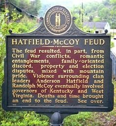 Image detail for -Explanation of the Hatfield-McCoy feud on local plaque
