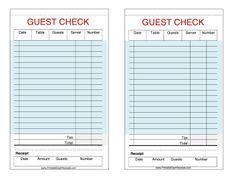 These printable guest checks are useful as restaurant, cafe, hotel and waiter receipts. Free to download and print