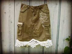 Upcycled Army Green Cargo Skirt// Size 6 Medium// by emmevielle, $63.00