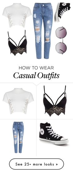"""Casual confidence"" by sirifogelholm on Polyvore featuring Club L, Glamorous, Converse and Monki"