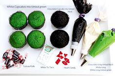Easy Frankenstein and the Bride of Frankenstein Cupcakes via Chocolate Icing, Chocolate Cupcakes, Halloween Cupcakes, Halloween Fun, Bride Cupcakes, Cupcake Mix, White Icing, Bride Of Frankenstein, Edible Art