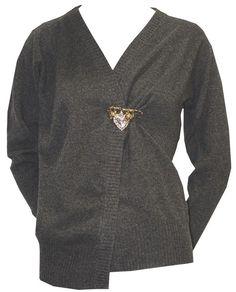 Dark Grey Cardigan With Brooch - Dolce & Gabbana  http://www.room7.co.uk/what-s-new/dolce-gabbana-grey-knitwear.html