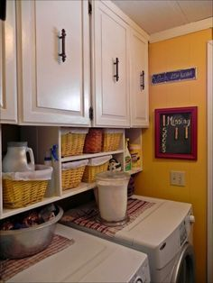 Mobile Home Makeover: Laundry rooms in trailers (if you're lucky enough to have one) are always tiny, so bright colors can really make a difference but efficient storage is also a must.
