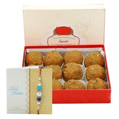 Check out our New Product  Sweets for bro No Flower COD Besan Laddu 500gms with Red beads and pearl rakhi, roli chawal  ₹849