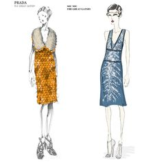 "Miuccia Prada's ""The Great Gatsby"" costume sketches no. two (orange organza dress with plastic scale-like sequin embroidery), and no. three (knee-length dress in octane tulle lined in matching silk cady)"