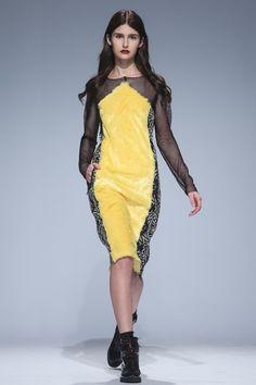 Yellow dress with sheer black panels. Andreeva Kiev Fall 2016 Fashion Show