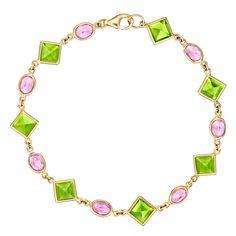 "Paolo Costagli ""Florentine"" Peridot & Pink Sapphire Link Bracelet | Betteridge"