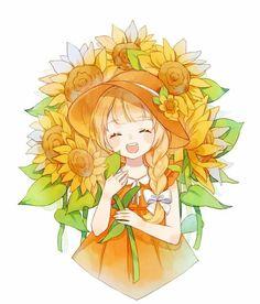 Trendy Ideas for flowers girl drawing anime art Manga Anime, Art Anime, Anime Art Girl, Anime Chibi, Manga Girl, Anime Girls, Art Kawaii, Loli Kawaii, Kawaii Anime Girl