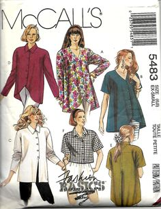 McCall's 5483 Misses Tunics Or Top Pattern, Size 6-8, UNCUT by DawnsDesignBoutique on Etsy