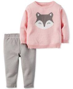 Carter's Baby Girls' 2-Pc. Intarsia Fox Sweater
