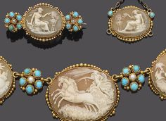 An early 19th century gold, shell cameo, turquoise and seed pearl necklace, pendant, brooch and earring suite, ca. 1820