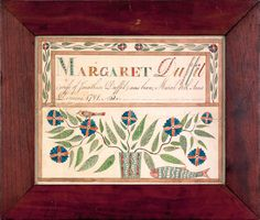 New Jersey ink and watercolor fraktur birth record for Margaret Duffil, b. 1791