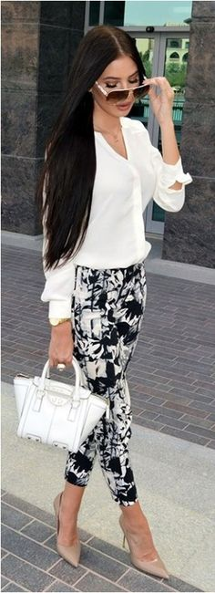 Casual spring styles we love cropped black and white summer slacks