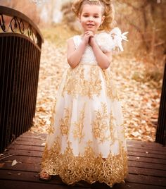 Golden Lace Special Event Girls Dress
