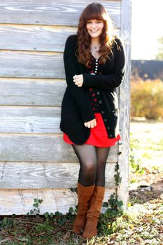 Bronze-jcpenney-boots-ruby-red-thrifted-dress-black-owl-thrifted-shirt