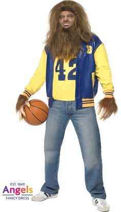 The Teen Wolf costume includes a yellow vest, an American high school letter jacket, a pair of gloves and a wig and beard set. **We ship internationally** http://www.fancydress.com/costumes/Teen-Wolf/0~1275346