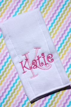 Personalized Embroidered Burp Cloth - Monogrammed - baby gift - cloth diaper on Etsy, $7.00