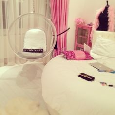 Pretty girls room, I've always wanted a round bed myself.