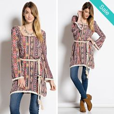 Easy Tribal print Boho Tunic - Roped belt, boho chic style unique and easy wear! Description: LIGHT FABRIC TIARA PRINT KNIT DRESS WITH CROCHET EDGE AND BACK DETAILING Fabric: Content: 79% POLYESTER, 21% RAYON Made In: United States - On Sale for $39.00 (was $49.00)