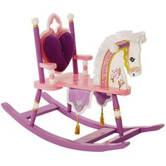 Give your little queen the perfect throne with this pretty princess rocking horse from Kiddie-Ups. It features a padded backrest for comfort, a silky mane for riding the range, and a royal banner with tassels that will complement any girls room.