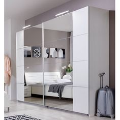 Wimex 734794 225 x 210 x 59 cm with 8 Fields, Mirrored Doors Sliding Wardrobe – Front and Body/aufleistungen Shiny Chrome Wardrobes Uk, Large Wardrobes, Mirrored Wardrobe, Bedroom Wardrobe, Sliding Wardrobe Doors, Sliding Doors, Garderobe Design, Bedroom Furniture, Bedroom Decor