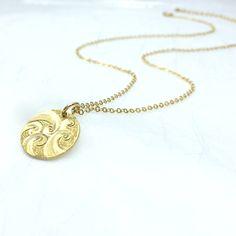 wave necklace ocean wave jewelry metal disc necklace$45.00