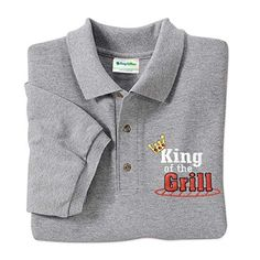 Father Day Gifts King of the Grill Golf Polo Shirt will make your grillmeister proud! More Father Day gift ideas at GuyGifter.com.