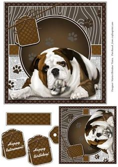 Luv My Bulldog 7x7 Card Front on Craftsuprint designed by Maria Christina Vieira  - Luv My Bulldog 8x8 Card Front ,Comes with matching TAG, Sentiment Labels. Approx: 7x7 in. card front.Labels: Happy Retirement!, Happy Birthday! and one blank. - Now available for download!