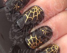 Halloween Nail Art Spider Web Spider oro acqua decalcomanie trasferimento wrap
