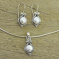 Pearl jewelry set, 'Honesty' - Bridal Sterling Silver Pearl Jewelry Set from India