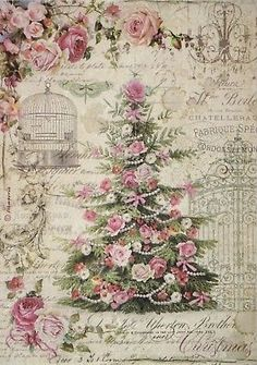 Rice Paper for Decoupage Decopatch Scrapbook Craft Sheet Sweet Christmas Tree