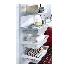 ALGOT Wall upright/mesh baskets IKEA The parts in the ALGOT series can be combined in many different ways and easily adapted to your needs a. Bedroom Closet Storage, Nursery Closet Organization, Ikea Closet, Shelves In Bedroom, Hall Closet, Ikea Algot, Ikea Ikea, Ikea Laundry, Laundry Area