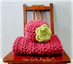 Baby Blanket  and Hat Set Pink and Green Chunky  Crochet  - Photo Prop, Travel, Cradle, Lovey- Sleeping on A Cloud- Choose Colors. $39.00, via Etsy.