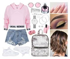 """rose pink hoodie cropped"" by jk802 ❤ liked on Polyvore featuring Local Heroes, NIKE, Yves Saint Laurent, Christian Dior, Bare Escentuals, Melissa Odabash, Daniel Wellington, River Island, Kendra Scott and Laura Mercier"