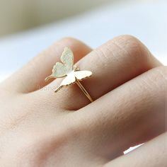 Swallowtail Butterfly Ring / adjustable ring/ choose your color, gold and silver from laonato on Etsy. Butterfly Ring, Butterfly Jewelry, Diamond Wedding Rings, Bridal Rings, Cute Jewelry, Jewelry Rings, Jewellery, Jewelry Ideas, Gold Pinky Ring