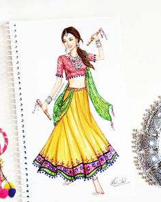Navratri, is the most celebrated Hindu festival devoted to Goddess Durga symbolizing purity and power. It combines prayers and resplendent… Dress Design Drawing, Dress Design Sketches, Fashion Design Sketchbook, Fashion Design Drawings, Dress Drawing, Fashion Sketches, Fashion Drawing Dresses, Fashion Illustration Dresses, Dress Illustration