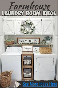 Small laundry room ideas - farmhouse laundry room decorating ideas for the home - farmhouse rustic laundry room ideas, laundry area design and laundry nook ideas for a laundry closet or basement laundry room. Farmhouse laundry room decor, laundry room lighting, laundry room storage and organization ideas and laundry room signs for decorating a small laundry room on a budget or a cheap DIY laundry room remodel Laundry Room Rugs, Tiny Laundry Rooms, Laundry Room Remodel, Farmhouse Laundry Room, Laundry Area, Basement Laundry, Mud Rooms, Laundry Storage, Storage Room