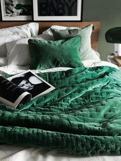 Green Velvet Throw on Bed
