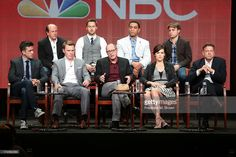 Executive Producer John Davis, actors Ryan Eggold and Harry Lennix, and Executive Producer John Fox, (Front row: L-R) Executive Producer Jon Bokenkamp, actors Diego Klattenhoff, James Spader, and Megan Boone, and Executive Producer John Eisendrath speak onstage during 'The Blacklist' panel discussion at the NBC portion of the 2013 Summer Television Critics Association tour - Day 4 at the Beverly Hilton Hotel on July 27, 2013 in Beverly Hills, California.