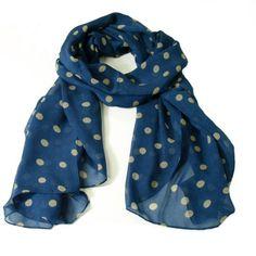 Chiffon Polka Dot Scarf - Dark Blue